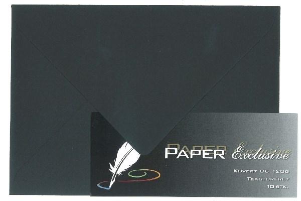 Image of Kuvert/konvolut - Tekstureret 120 g Sort