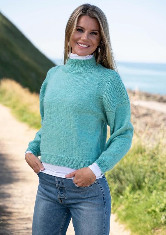 Strikkekit - Mayflower strikkeopskrift 1800 - Skulderstykke i rib 1800 Sweater med skulderstykke str S