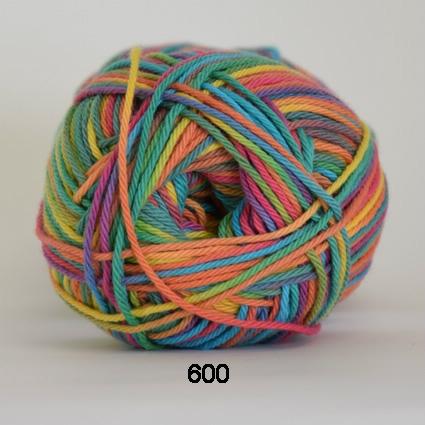 Image of Cotton nr. 8- Bomuldsgarn - Hæklegarn - fv 600 Flerfarvet
