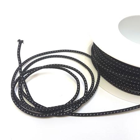 Image of Rund elastik - 3 mm Anorak elastik m/refleks sort
