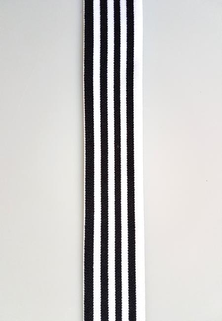 Image of Elastik til Boxershorts - hvid sort striber 30425-001 10 meter