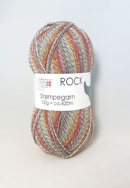 Image of Rock Strømpegarn - Hjertegarn - Flerfarvet - Fv 0038